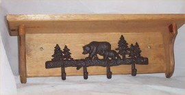 Bear Wood Shelf Metal Coat Rack 4 Hooks Key Cabin Lodge Home Decor Hat Rack