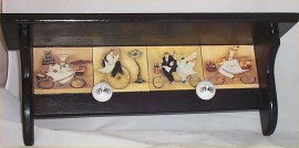 Black Fat Chef Wood Shelf Bike Chefs Knobs Bistro french home decor Handcrafted