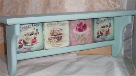 Wood Shelf Cupcake Solid Pine Soft Blue Kitchen Country Home Decor Handcrafted