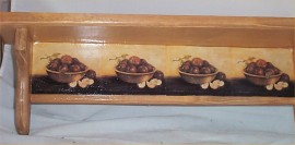 Apple Wood Wall Shelf Decor Home Kitchen French Country New Bowl Apples