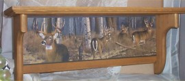 Wood Wall Shelf Buck Deer Plate Rack Country Lodge Cabin Decor golden Oak Stain