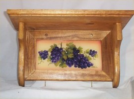 Wood Wall Shelf Tuscan Decor Grape Glass Insert Solid Wood & Glass Original