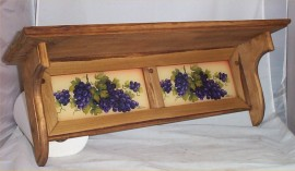 Wood Wall Shelf Large Tuscan Decor Grape Glass tile Insert Solid Wood 27