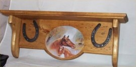 Western Horse Wood Shelf Horseshoes Solid Pine Country Home Decor Horses