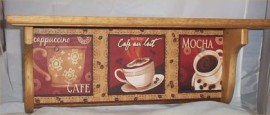 Coffee Wood Wall Shelf Mocha Cappuccino Cafe Home Decor Kitchen Solid Wood Shelf