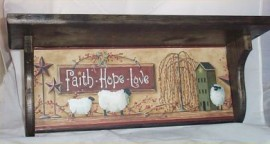 Wood Wall Shelf Primitive Black Plate Rack Home Decor Kitchen Faith Hope Love
