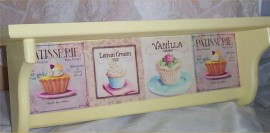 Wood Shelf Cupcake Solid Pine Soft Yellow Kitchen Country Home Decor Handcrafted