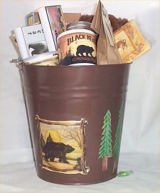 Moose Tin Bucket Gift Basket Cabin Lodge Mens Gifts New