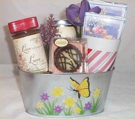 Gift Basket Coffee Coco Mug Tin Flower Pot Candy Candle Any Occassion #1