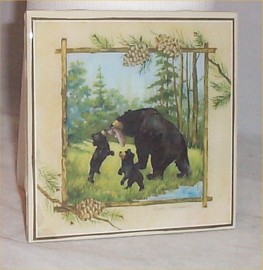 Trivet Ceramic Tile Bear + Cubs Lodge Cabin country Kitchen Home Decor
