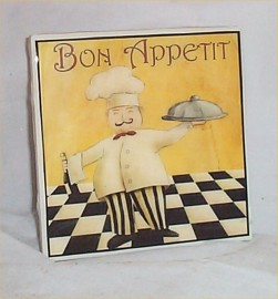 Fat Chef Trivet Ceramic Tile Bono Appetit Bistro Waiter Kitchen Chefs