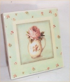 Chic Trivet Ceramic Tile Sage Green Shabby Floral Victorian Kitchen