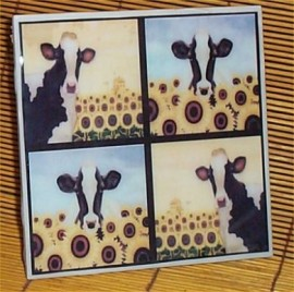 Cow Trivet Ceramic Tile Country Kitchen Sunflower /cowS