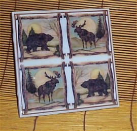 Moose Bear Trivet Ceramic Tile Lodge Cabin country Kitchen