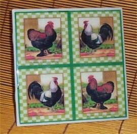 Rooster Trivet Ceramic Tile Country Farm Kitchen /Green