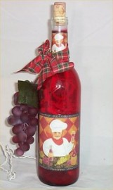 Fat Chef Wine Bottle Light Decor Night Lite Chef Red #2