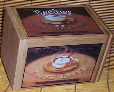 Wood coffee recipe box bamboo cafe latte kitchen decor for Cafe latte decor