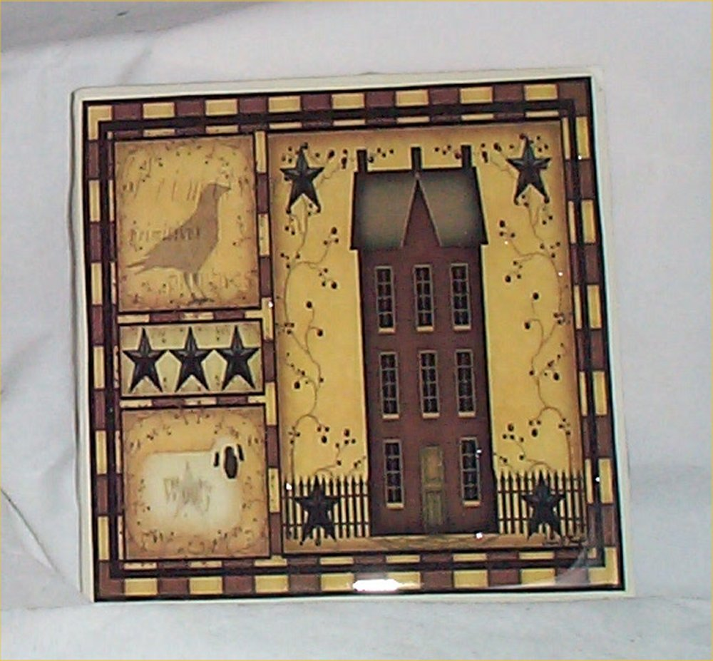Primitive Trivet Ceramic Tile Country Kitchen Salt Box
