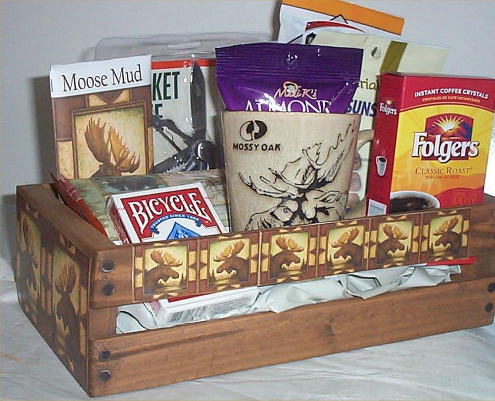 Moose Hunters Wood Crate Gift Basket Coffee Mug Cookies Candy Nuts