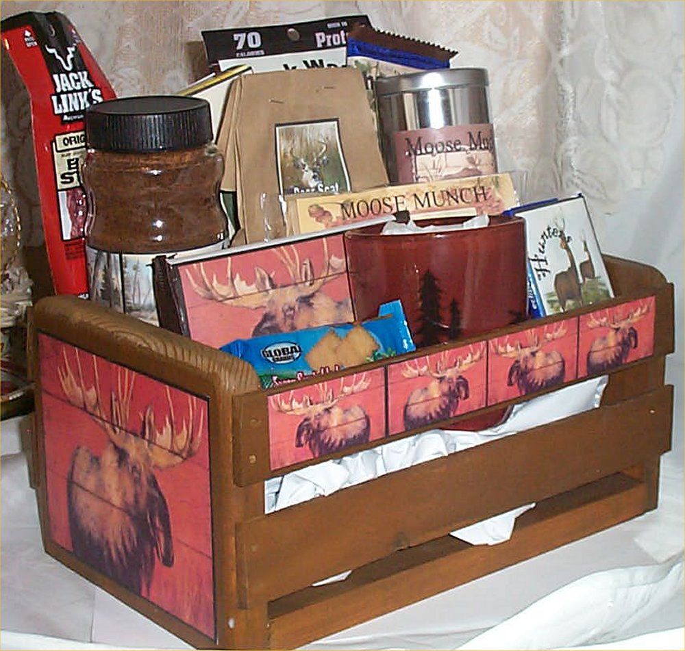 Unique Gift Stores: Moose Wood Crate Gift Basket Fun Food Unique Hunters