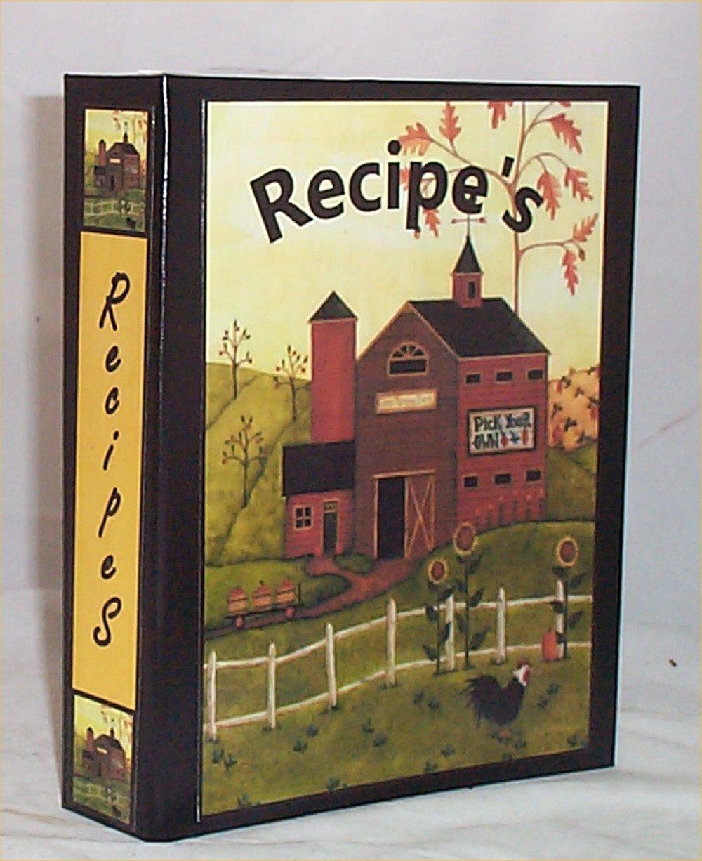 primitive recipe book folder file index card salt box kitchen folk